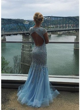 LadyPromDress 2018 Blue Crystal Backless Satin Prom Dresses
