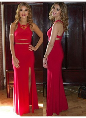2019 Gorgeous Red Prom Dresses Round Neck Side-Slit Satin