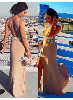 Beading Side-Slit Column/Sheath Chiffon Nude Prom Dresses