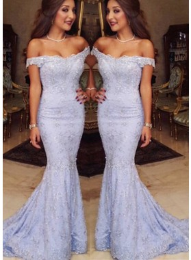 Off-the-Shoulder Appliques Sweep Train Mermaid/Trumpet Lavender Prom Dresses