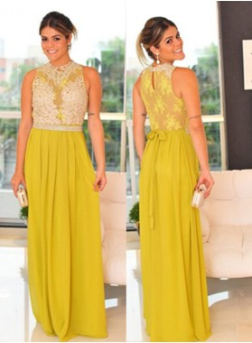 Yellow Sleeveless Natural Appliques Floor-Length/Long A-Line/Princess Chiffon Prom Dresses