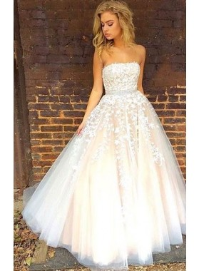 2020 Cheap Princess/A-Line Tulle Strapless Champagne Prom Dresses