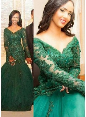 Green V-Neck Long Sleeve Appliques Floor-Length/Long Mermaid/Trumpet Tulle Prom Dresses