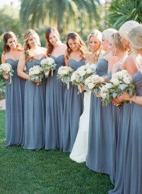 2019 Grey Sweetheart Floor Length pleated Chiffon Bridesmaid Dresses / Gowns