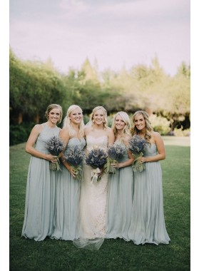 2019 Cheap A Line Sage Green Chiffon V Neck Long Bridesmaid Dresses / Gowns
