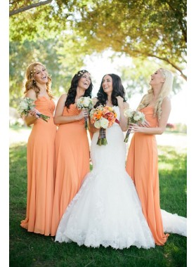 2019 Cheap A Line Chiffon Orange Strapless Ruffles Long Bridesmaid Dresses / Gowns