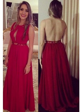 2019 Gorgeous Red Sleeveless Natural Floor-Length/Long A-Line/Princess Chiffon Prom Dresses