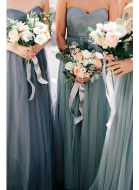 2019 New Arrival A Line Sweetheart Silver Tulle Long Bridesmaid Dresses / Gowns