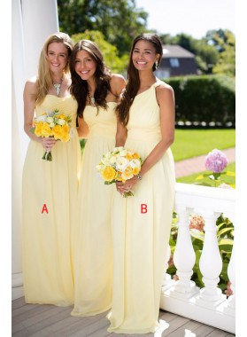 2020 Cheap A Line Chiffon Ruffles Yellow Long Bridesmaid Dresses / Gowns