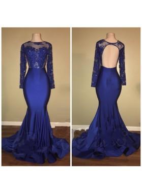 2019 Charming Royal Blue Long Sleeve Mermaid Prom Dresses
