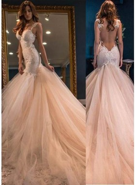 Appliques Straps Mermaid/Trumpet Tulle Champagne Prom Dresses