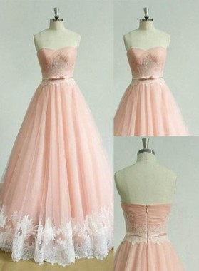 Appliques Sweetheart A-Line/Princess Tulle Prom Dresses 2019 Glamorous Pink