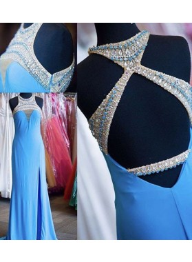 LadyPromDress 2019 Blue Halter Crystal Detailing Column/Sheath Prom Dresses