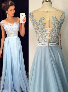 LadyPromDress 2020 Blue Appliques A-Line/Princess Chiffon Prom Dresses