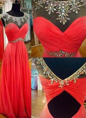 2019 Gorgeous Red Floor-Length/Long Crystal Jewel Neck A-Line/Princess Chiffon Prom Dresses