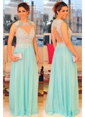 LadyPromDress 2019 Blue Lace Floor-Length/Long A-Line/Princess Chiffon Prom Dresses