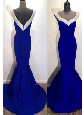 Royal Blue Crystal Straps Mermaid/Trumpet Satin Prom Dresses