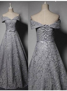 Lace-Up Bow Off-the-Shoulder Lace Prom Dresses