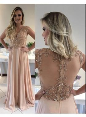 Pearl Pink Beading V-Neck A-Line/Princess Chiffon Prom Dresses