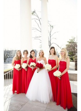 2021 Cheap A Line Chiffon Red Long Strapless Bridesmaid Dresses / Gowns