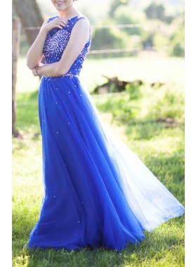 Beading Floor-Length/Long A-Line/Princess Tulle Prom Dresses