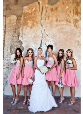 2021 Cheap A Line Pink Sweetheart Chiffon Short Bridesmaid Dresses / Gowns