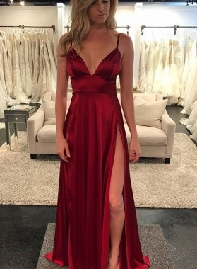 2020 Charming Princess/A-Line Burgundy Satin Side Slit Sweetheart Prom Dresses