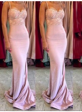 2020 New Arrival Mermaid Satin Pink Spaghetti Straps Sweetheart Long Bridesmaid Dresses / Gowns