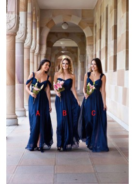 2021 Cheap A Line Dark Navy Sweetheart Chiffon Floor Length Bridesmaid Dresses / Gowns