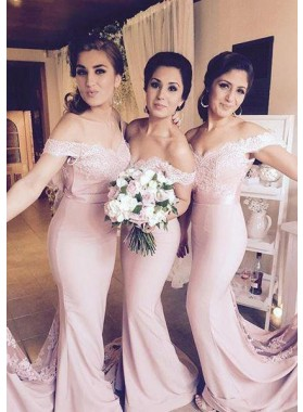 2020 New Arrival Mermaid Pink Off The Shoulder Lace Long Bridesmaid Dresses / Gowns
