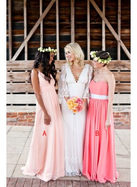 2021 Cheap A Line Chiffon Floor Length Pearl Pink Bridesmaid Dresses / Gowns
