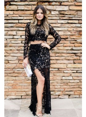 2019 Sexy Black Lace Long Sleeves Two Pieces Prom Dresses
