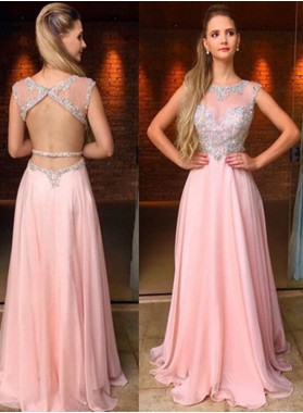 2019 Glamorous Pink Backless Beading Natural Floor-Length/Long A-Line/Princess Chiffon Prom Dresses