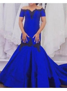LadyPromDress 2019 Blue Short Sleeves Off-the-Shoulder Mermaid/Trumpet Satin Prom Dresses