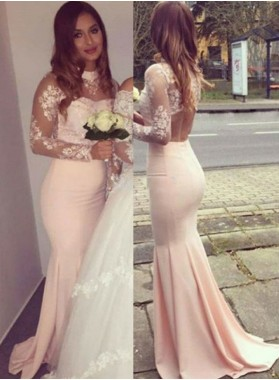 Long Sleeve Appliques Backless Mermaid/Trumpet 2018 Glamorous Pink Prom Dresses