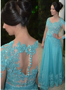 LadyPromDress 2019 Blue Long Sleeve Appliques Natural Floor-Length/Long A-Line/Princess Tulle Prom Dresses