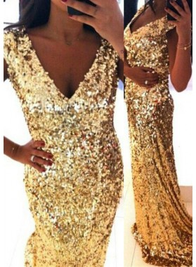 Gold V-Neck Natural Waist Sweep Train Sequins Prom Dresses