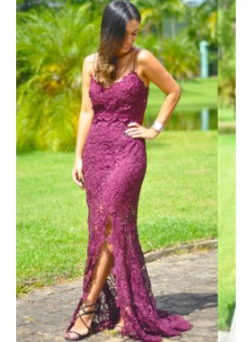 Spaghetti Straps Natural Sweep Train Column/Sheath Lace Prom Dresses