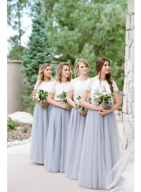 2021 Newly A Line Tulle Lavender Lace Top Bridesmaid Dresses