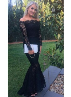 Alluring Mermaid/Trumpet Off The Shoulder Long Sleeves Black Lace Prom Dresses