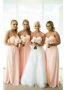 2021 Cheap A Line Pink Chiffon Sweetheart Long Bridesmaid Dresses / Gowns