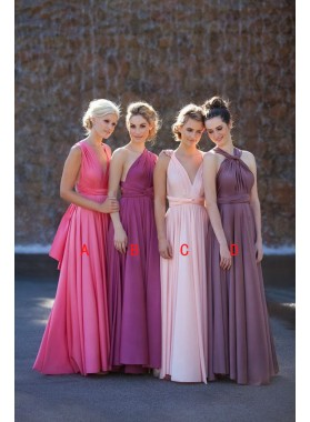 2021 New Arrival A Line Chiffon Pearl Pink V Long Bridesmaid Dresses / Gowns