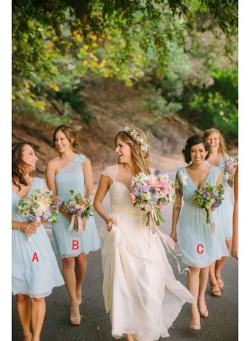 2019 Cheap V Neck A Line Chiffon Light Sky Blue Short Bridesmaid Dresses / Gowns