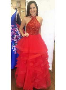 2019 Cheap Red Princess/A-Line Tulle Beaded Ruffles Prom Dresses