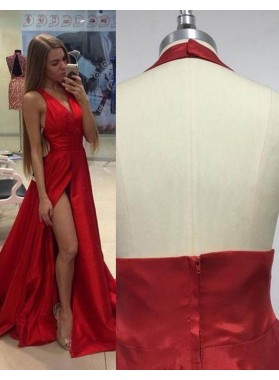 2019 Gorgeous Red Halter High-Slit A-Line/Princess Satin Prom Dresses