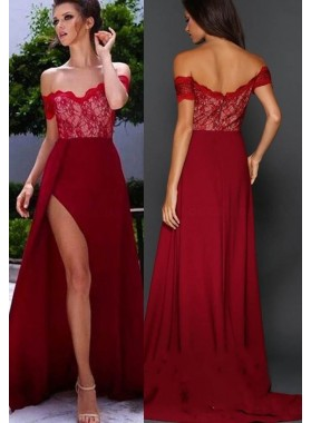 Burgundy Lace Off-the-Shoulder A-Line/Princess Satin Prom Dresses