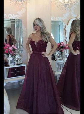 Burgundy Beading Sweetheart A-Line/Princess Chiffon Prom Dresses