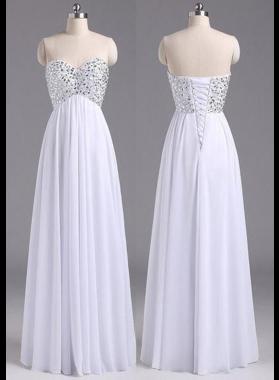 2019 Unique White Beading Sweetheart A-Line/Princess Chiffon Prom Dresses