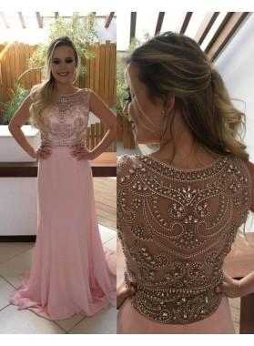 Beading Jewel Neck A-Line/Princess Chiffon 2019 Glamorous Pink Prom Dresses