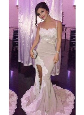 Appliques High-Slit Mermaid/Trumpet Stretch Satin Nude Prom Dresses